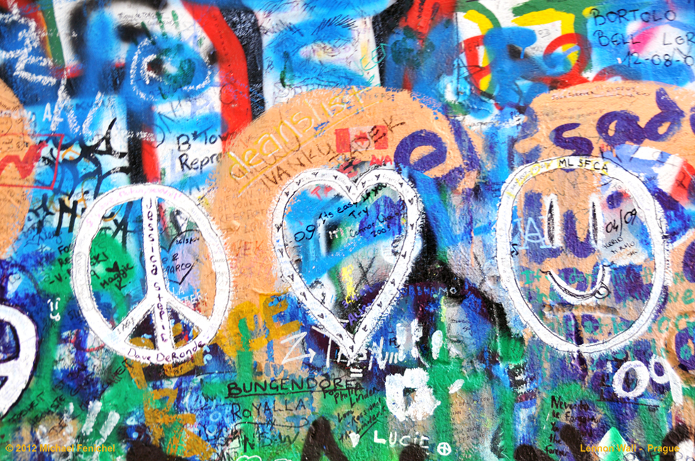 Lennon Wall - Prague - Peace,Love,Joy