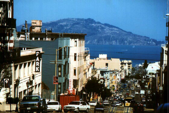[San Francisco Cityscape - Hill and Angel Island]