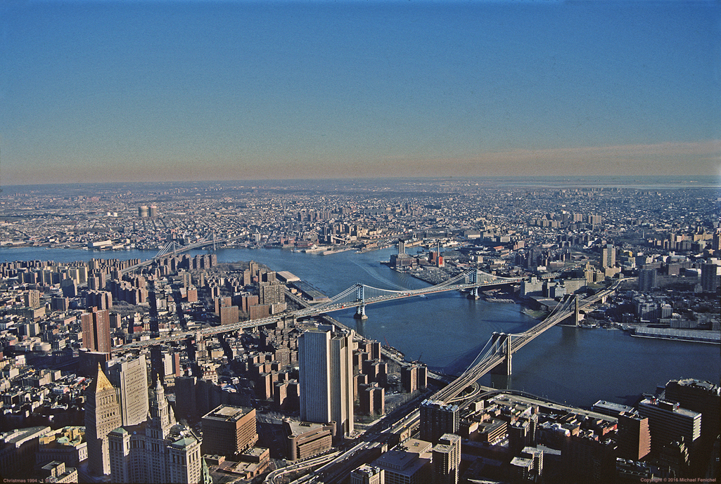 [View of East River Bridges from 1 WTC]