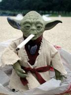 Yoda takes a drag