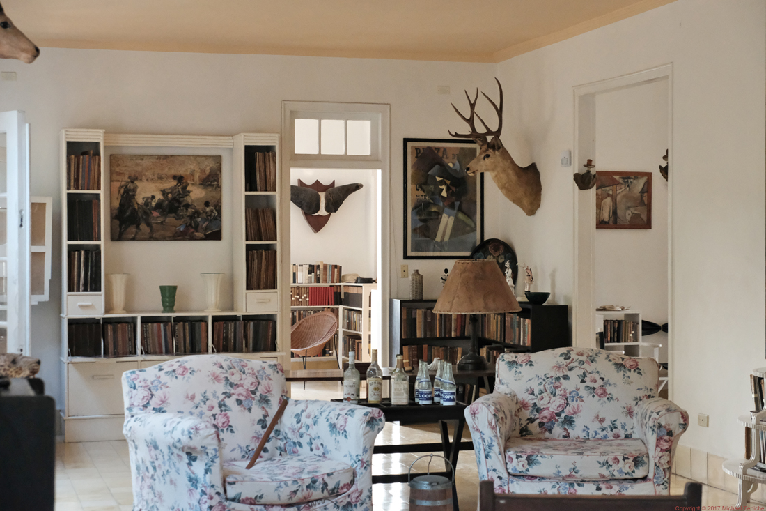 Hemingway's Living Room: Books, Trophies, Drink Tray