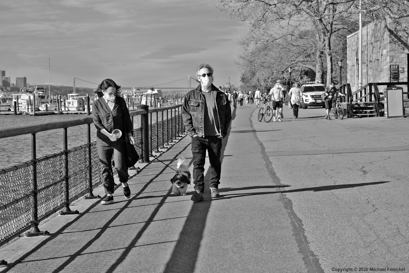 [Walking with Dog and Masks - Riverside NYC - BW]