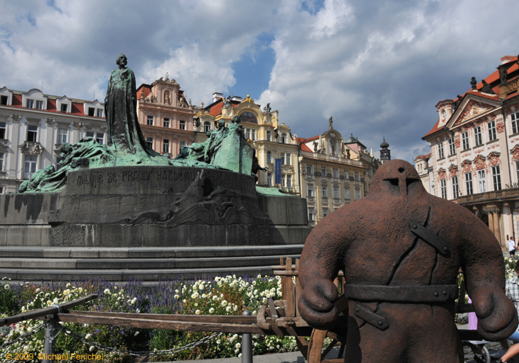 [Jan Hus Monument with the Golem of Prague]