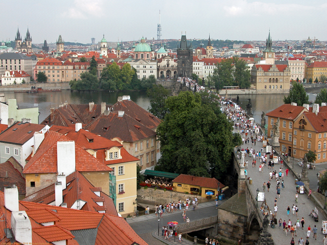 [View of Charles Bridge and Old Town from Tower]