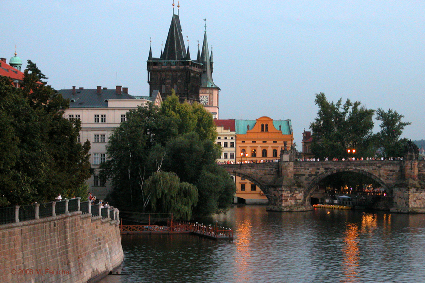 [View of Charles Bridge from Old Town near Josefov]