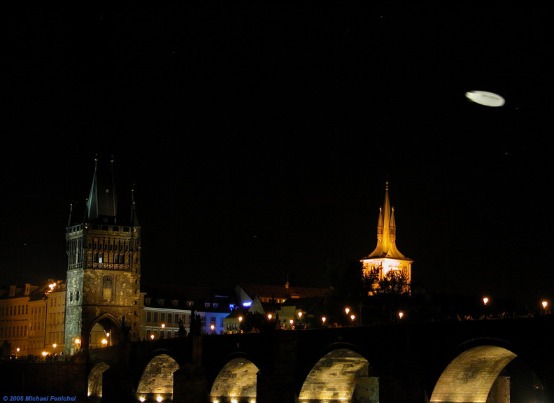 [View of Charles Bridge at Night - with UFO above]