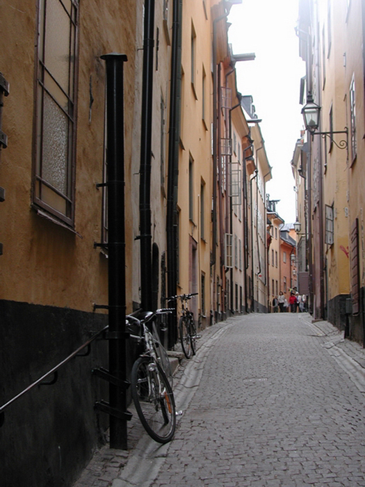 [Gamla Stan Alley with Bicycles - Up ahead is St.George and the Dragon]